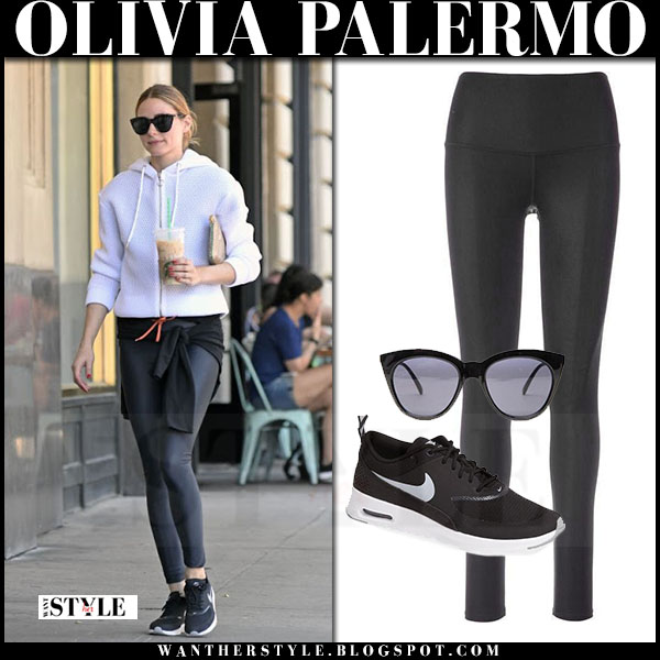 Olivia Palermo in white hoodie, black alo yoga leggings and black nike air max thea sneakers  what she wore workout style