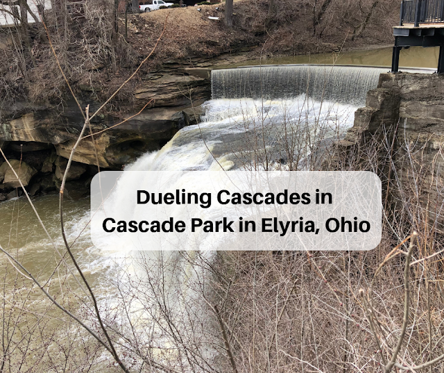 Exploring waterfalls and hiking rocky terrain at Cascade Park along the Black River in Elyria, Ohio.