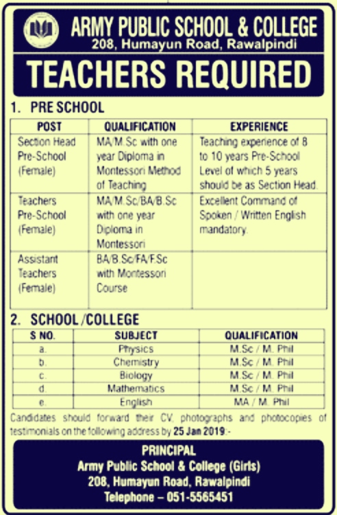 Army Public School & College Rawalpindi Jobs 2019 For Section Head, Teachers, Assistant