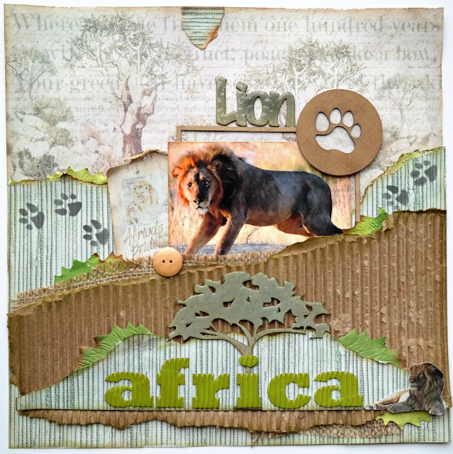 African Lion Layout by Dana Tatar for FabScraps - Call From The Wild Collection
