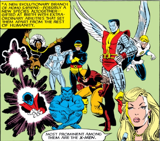 A single panel featuring a montage of mutants: Storm, Iceman, Cyclops, Colossus, Angel, Nightcrawler, Beast, and Wolverine. A blonde woman's dialogue reads, 'A new evolutionary branch of homo sapiens--possibly a new species altogether--gifted at birth with extraordinary abilities that set them apart from the rest of humanity. Most prominent among them are the X-Men.'