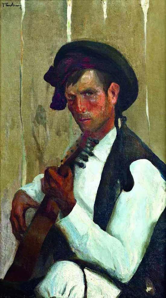 Hombre con Guitarra ,  Francisco Pons Arnau, Pintor español, Pintor Valenciano, Pintura Valenciana, Impresionismo Valenciano, Pintor Pons Arnau, Retratos de Pons Arnau