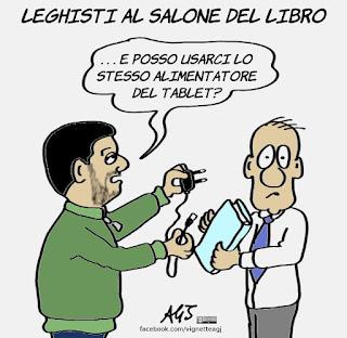 Salvini, fiera del libro, libri, satira, vignetta