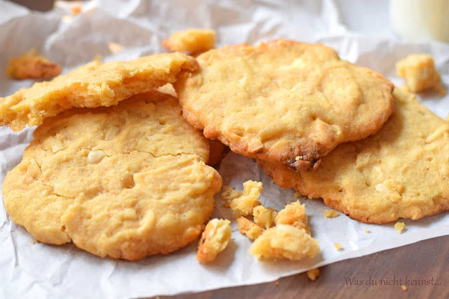 White Chocolate Cookies mit Erdnussbutter.