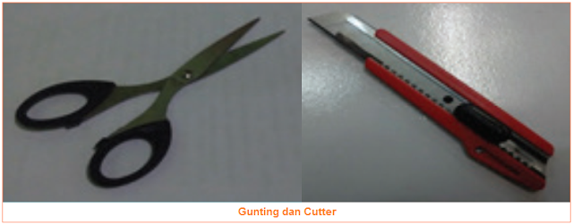 Gunting dan Cutter - Alat dan Bahan Untuk Membuat Miniatur Jembatan