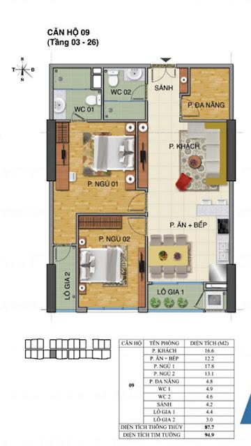 Căn hộ số 09 tòa Trường Thành A- Tràng An Complex