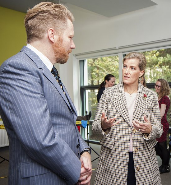 Countess Sophie wore Stella McCartney Marcelline wool coat at Bath University. JP Morgan Spring School for Autism
