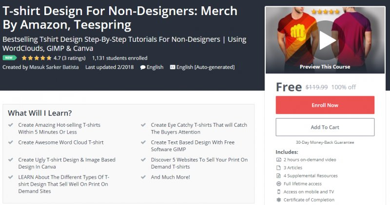 a65116a1 [100% Off] T-shirt Design For Non-Designers: Merch By Amazon, Teespring|  Worth 119,99$