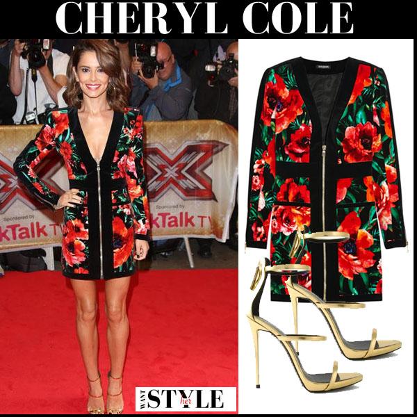 Cheryl Cole In Floral Print Zipper Mini Dress And Gold