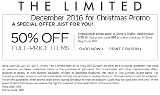 The Limited coupons december