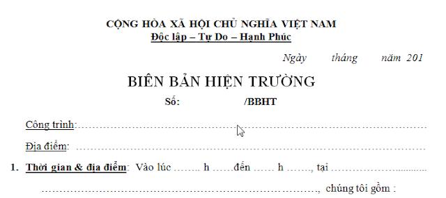 Biên bản hiện trường mẫu chung - có thể sử dụng cho hầu hết các trường hợp ngoài công trường