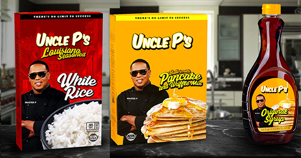 Uncle P's rice, pancake mix and syrup