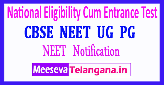 NEET National Eligibility Cum Entrance Test NEET 2018 Notification Application Form Admit Card Exam Dates Download