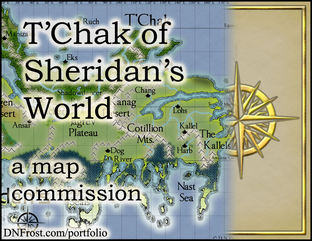 T'Chak of Sheridan's World: a third science-fiction map for Stephen Everett http://www.dnfrost.com/2016/08/tchak-of-sheridans-world-map-commission.html A map commission by D.N.Frost @DNFrost13 Part 1 of a series.
