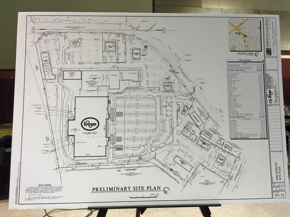 The Preliminary Site Plan Of The Kroger Marketplace At Embry Village