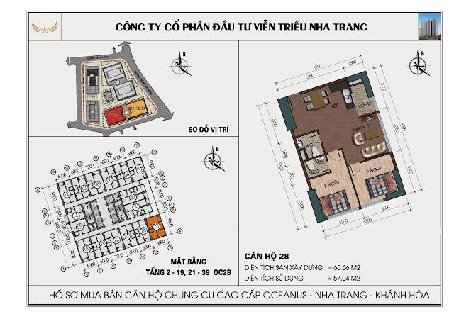 Sơ đồ căn hộ số 28 tòa OC2BViễn Triều Nha Trang