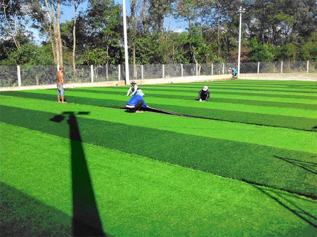 Cho từng cuộn cỏ cần thay trải lên mặt sân