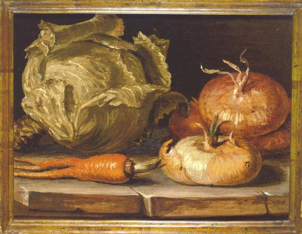 Giuseppe Artioli, Natura morta con cipolle, verza e carota