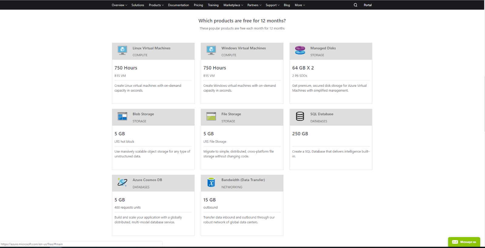 Microsoft Azure Trail Account and Free Services