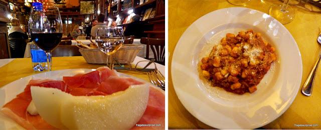 Melão com presunto de parma e gnochetti al ragù servidos na Enoteca Capranica, em Roma