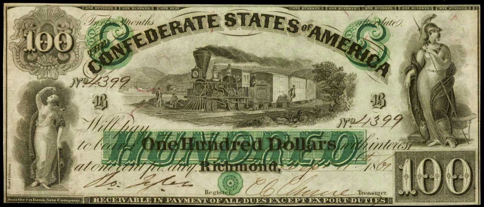 Confederate Currency 1861 100 Dollar Bill CSA Note Locomotive Train T-5