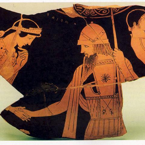 Αναχώρηση Αμφιάραου. Θραύσμα ερυθρόμορφης κάλπης του Ζωγράφου των Νιοβιδών, περίπου 460 π.Χ. Ο Αμφιάραος αποχαιρετά την Εριφύλη. Δεξιά ο ηνίοχος Βάτων (;). Αγία Πετρούπολη, The State Hermitage Museum