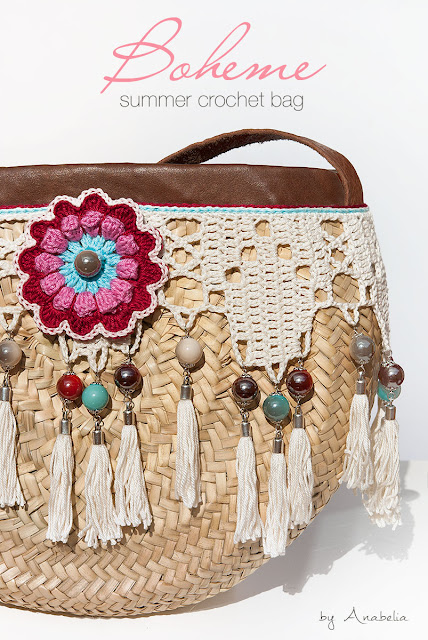 Bohemian style crochet summer bag  by Anabelia Craft Design