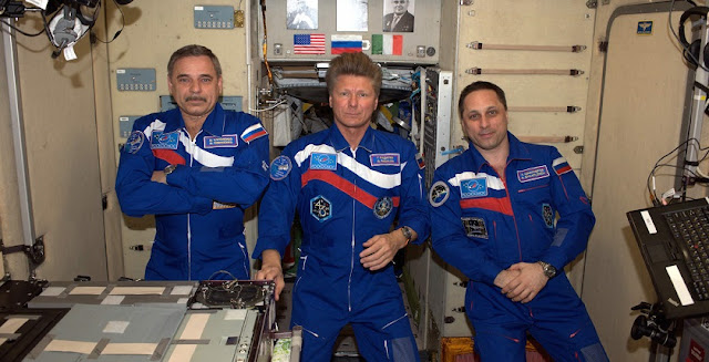 Three Russian cosmonauts aboard the ISS (l-r): Mikhail Kornienko, Gennady Padalka and Anton Shkaplerov. Photo Credit: Roscosmos