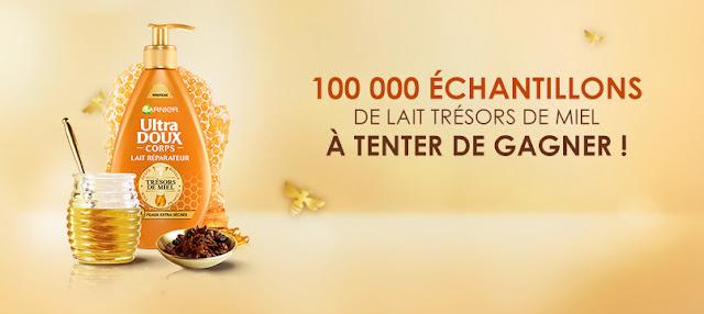 100 00 Échantillons Gratuits lait Ultra Doux Corps Trésors de Miel à gagner !