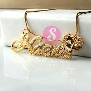 kalung nama lapis emas grafir - nazwa