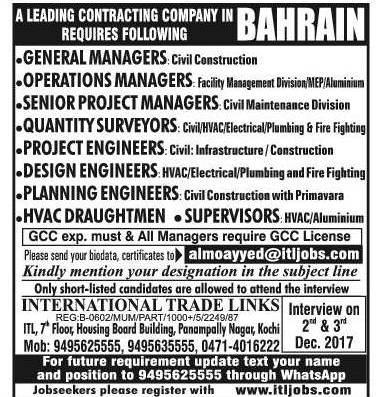 Gulf Naukri - Wanted For Delta Construction Co  WLL, Bahrain