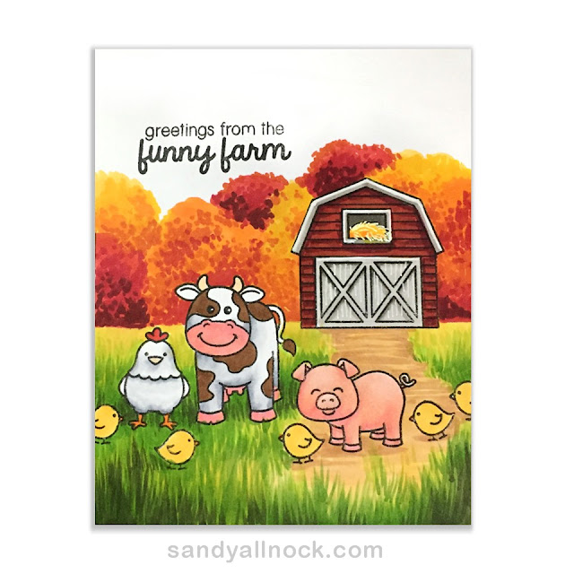 Sunny Studio Stamps: Barnyard Buddies Cow, Chicken & Pig card by Sandy Allnock
