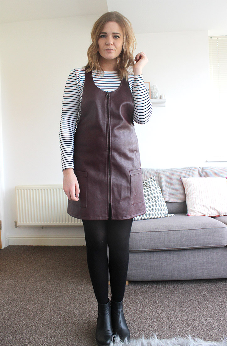 Leather pinafore dress outfit post