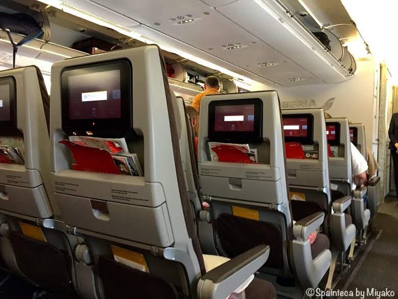 イベリア航空スペイン直行便の機内の様子