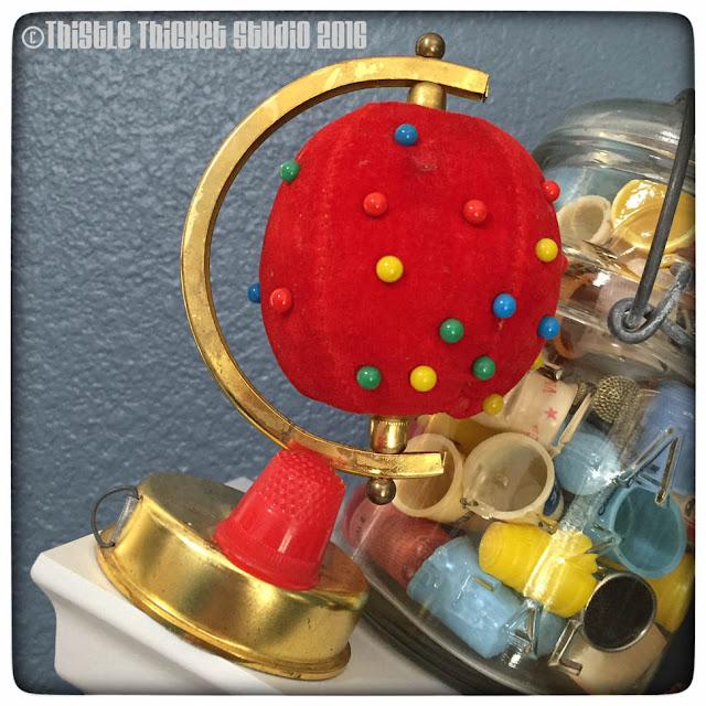 Thistle Thicket Studio, pincushion, vintage pincushions, globe pincushion