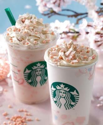 Source: Starbucks. Starbucks Sakura Blossom Cream Latte and Starbucks Sakura Blossom Cream Frappuccino Blended Beverage with Crispy Swirl.