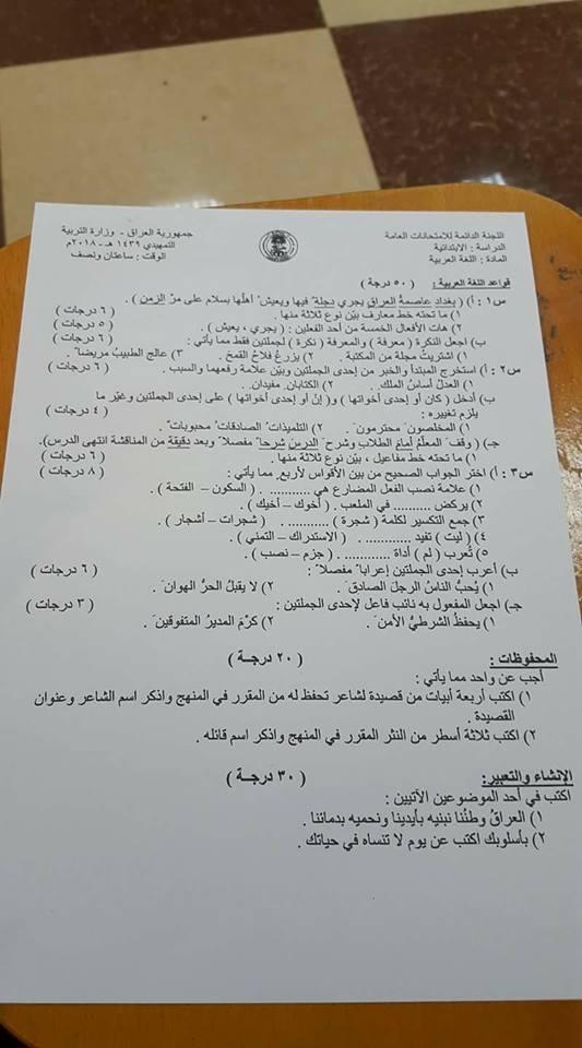 اسئلة اللغة العربية للصف السادس الابتدائي للامتحانات التمهيدية لسنة 2018