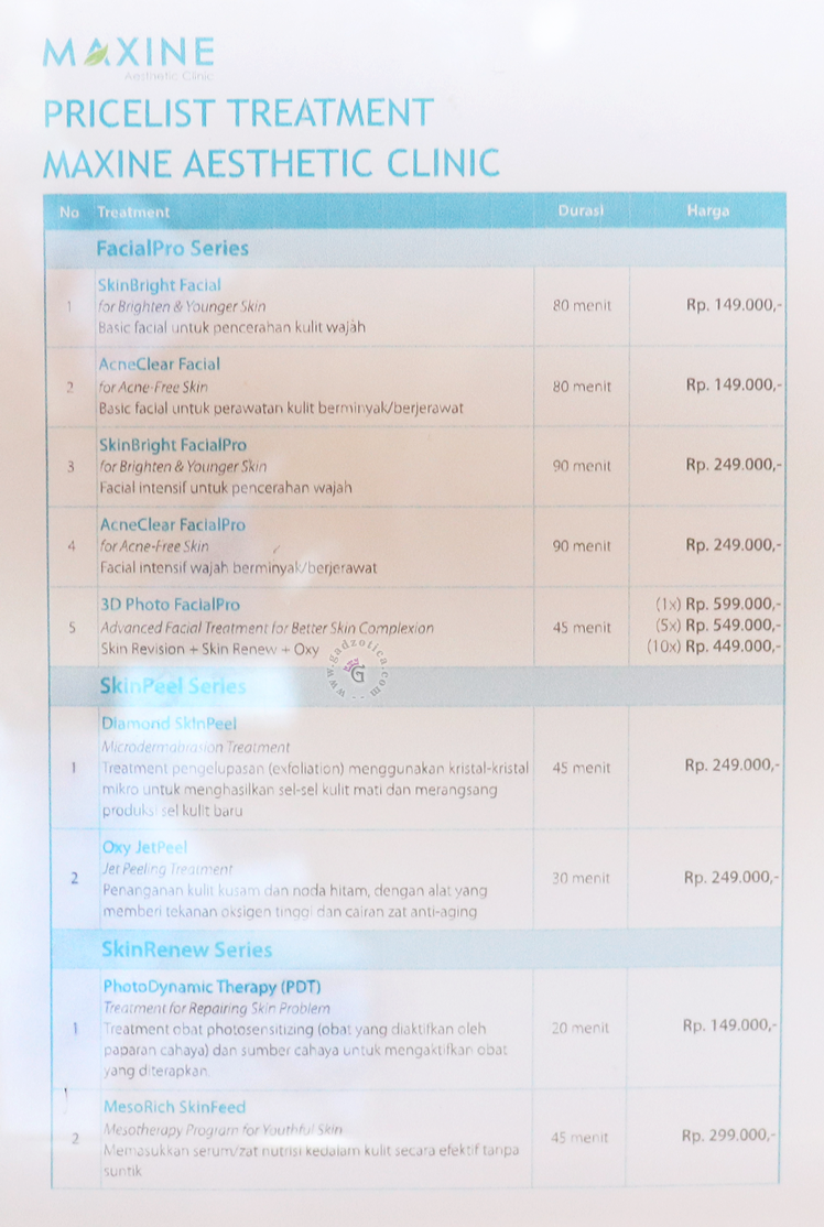 Pricelist Maxine Clinic
