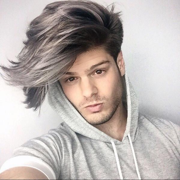 Long gray hair color breaks down