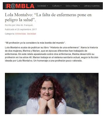 imagen que recoge una captura de la publicacion web Rambla, que muestra un fragmento de la entrevista a Lola MOntalvo con motivo de su libro Historia de una enfermera