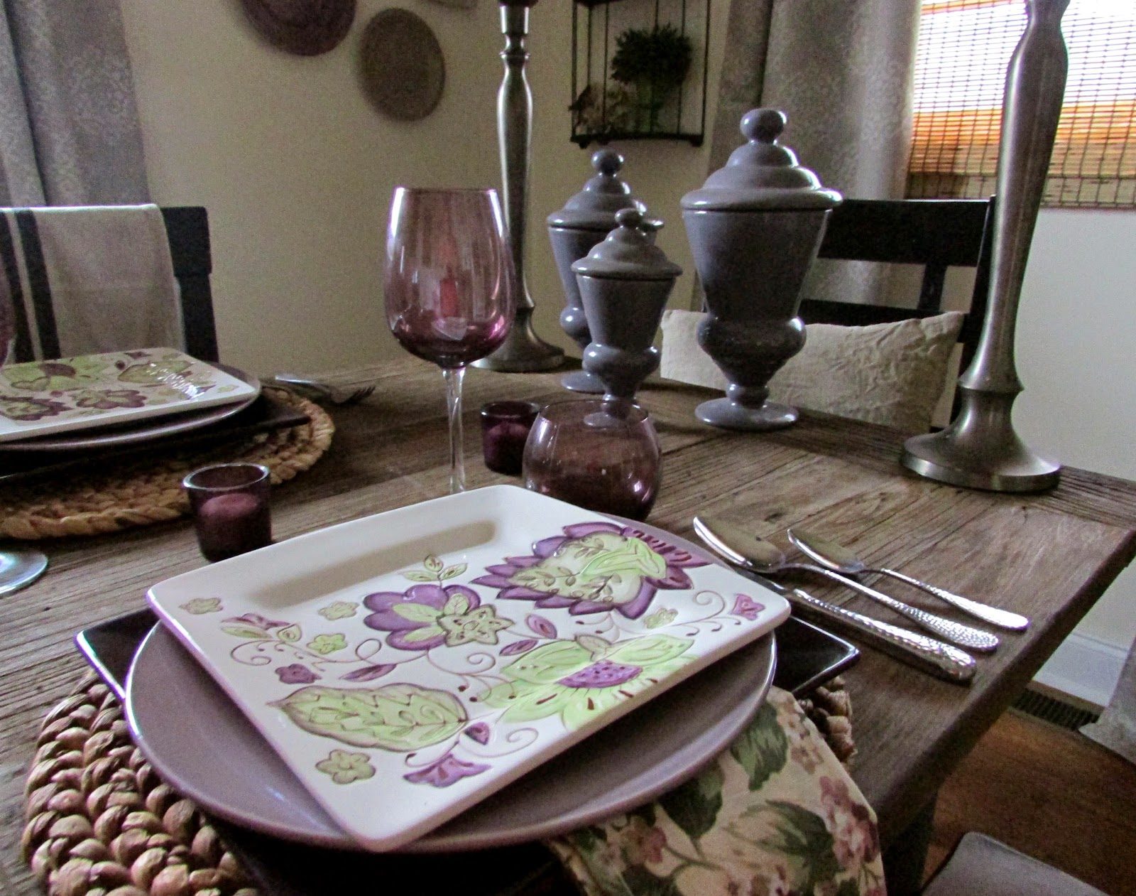 Purple Dishes on a Rainy Day Tablescape