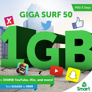 Smart Unveils Giga Surf 50; 1.3GB of Data for Only 50 Pesos Valid for 3 Days