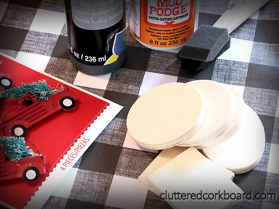DIY Red vintage Truck & Buffalo Plaid Ornaments