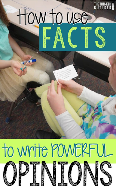 Teach students how to use facts to support their opinion in order to create powerful opinion-writing or persuasive-writing pieces. Walk through an entire writing lesson, and get all the lesson materials too. Blog post by The Thinker Builder.