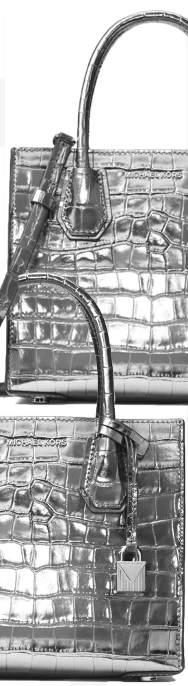 MICHAEL MICHAEL KORS Mercer Metallic Embossed-Leather Crossbody