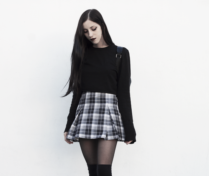 lune, nocturne, blog, grunge, outfit, look, blogger, plaid, skirt