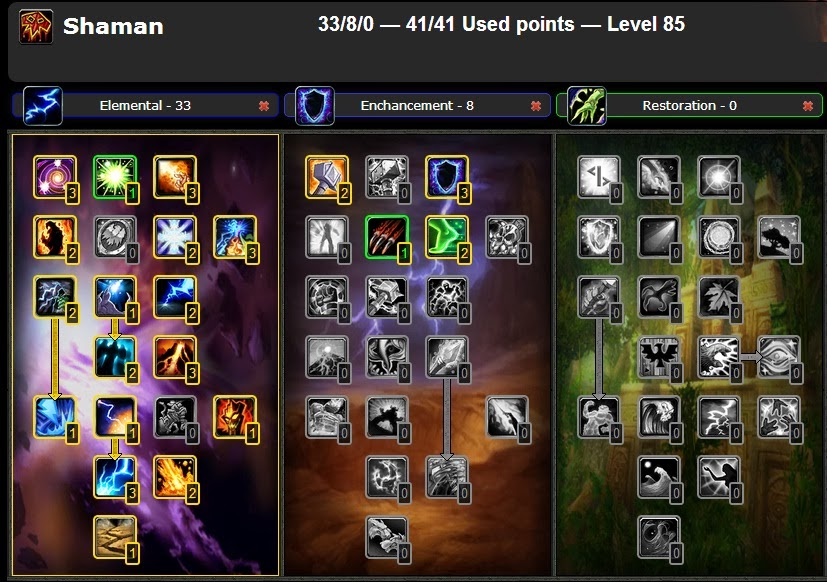 Wow Best Pvp Pve Talent Leveling Guide Elemental Shaman Pve Cataclysm 4 3 4 Glyphs Talent Guide