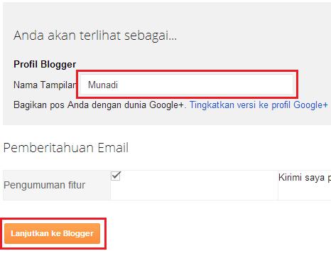 klik lanjutkan ke blogger