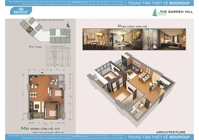 Căn hộ A4 tầng 6, diện tích 80m2