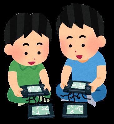 壊れた携帯ゲーム機で遊ぶ子供のイラスト
